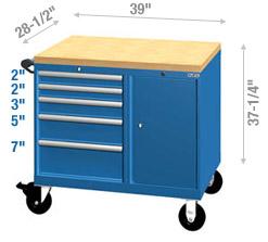 Cabinets mobiles avec tablettes de travail