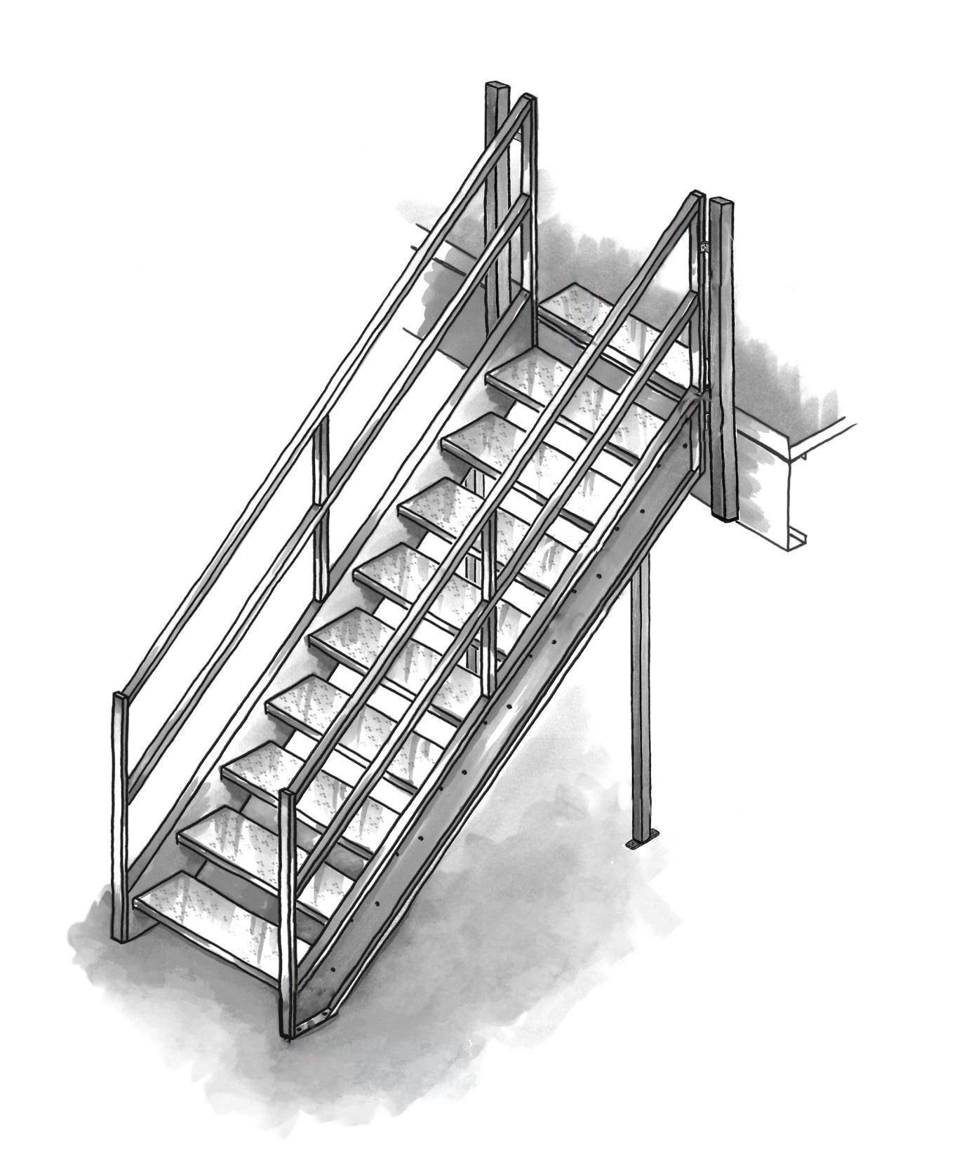 Escaliers et contre marche pour mezzanine multi industriel for Contre marche escalier exterieur